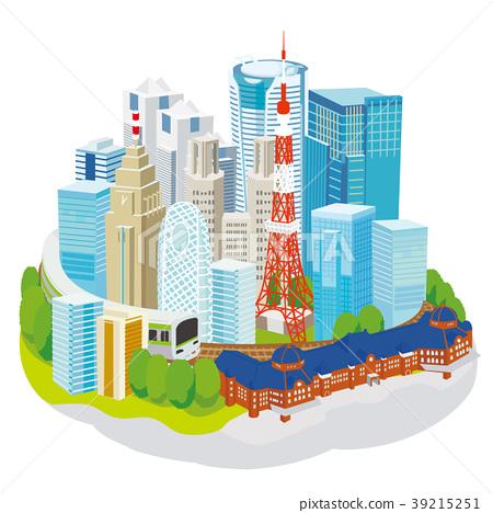 东京都市风景3D例证 39215251