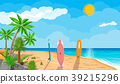 Landscape of palm tree on beach surfboard 39215296