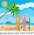 Landscape of palm tree on beach surfboard 39215297