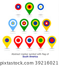 Abstract marker symbol with flag of Americas. 39216021