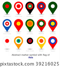 Abstract marker symbol with flag of Asia. 39216025