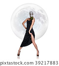 Stylish young woman in gas mask over full moon 39217883
