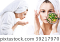 Woman washing-up her face. Protection from germs. 39217970