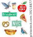New York Doodle set. American travel symbols in 39218877