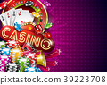 Casino Illustration with roulette wheel and 39223708
