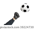 Goalkeeper hand and soccer ball 39224730