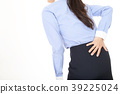 A woman complaining of low back pain 39225024