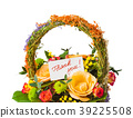 Flowers bouquet in basket and greeting card 39225508