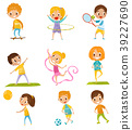 Kids doing different kinds of sports set 39227690