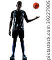 one african soccer player man isolated white 39227905