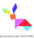 Color tangram puzzle in rabbit shape 39227982