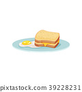 Sandwich with cheese and fried egg on a plate 39228231