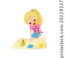 Lovely blonde little girl making paper application 39229337