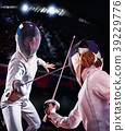 Fencing sport for women epee fencer. 39229776