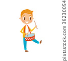 Cute boy playing drum, little musician character 39230054