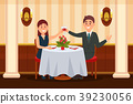 Happy couple in love sitting in the restaurant and 39230056