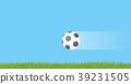 Soccer ball flying in air. 39231505