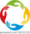 Four hands, team, helpers, friends, nursing, logo 39232195
