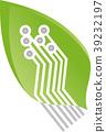 Leaf, chip board, green IT, services, Logo 39232197