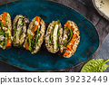 Vegan sushi sandwich onigirazu with tofu  39232449
