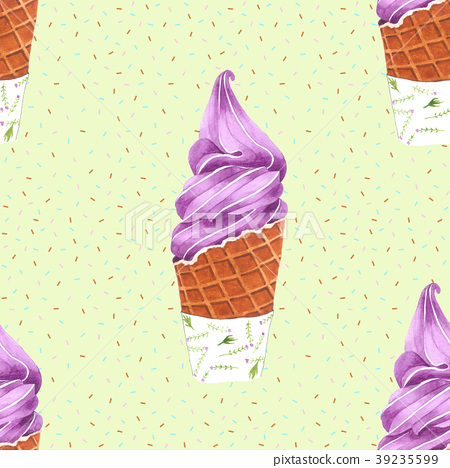 Violet Ice Cream Cone Seamless Pattern for Package 39235599