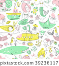 Cute little mermaid seamless pattern. Believe in 39236117