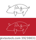 Vector of line design silhouette of pig. Animal. 39236631