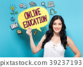 Online Education with woman holding a speech 39237193