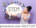 STEM with woman holding a speech bubble 39237197