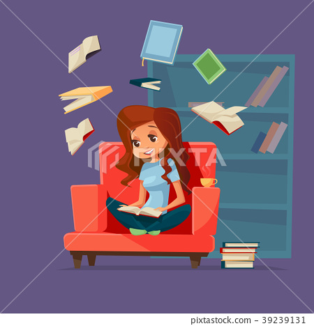 Vector cartoon girl student reading books 39239131