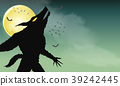 werewolf howling on green spooky night background 39242445
