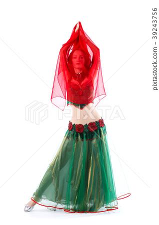 8c45bf90ed4d Beautiful Belly Dance girl in green baladi costume - Stock Photo ...
