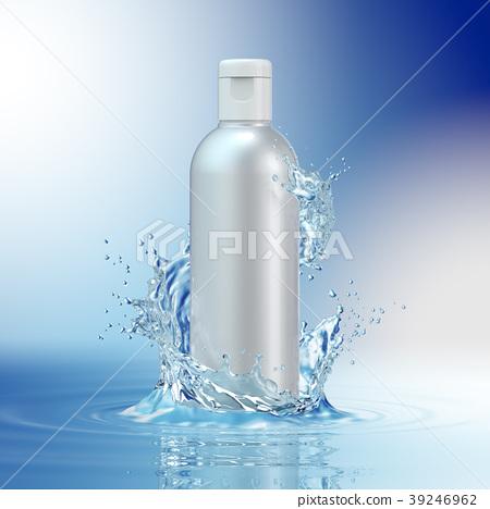 Cream bottle mock up in water splash on blue 39246962
