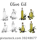 Glassware bottles with olive oil sketches 39248677