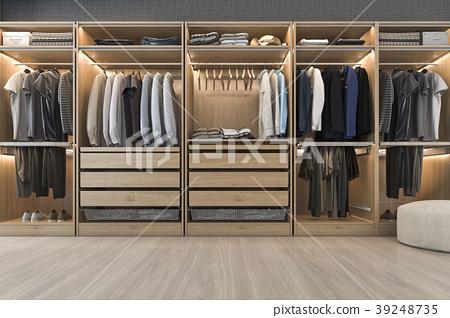 white wood walk in closet with wardrobe 39248735