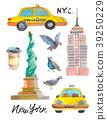 New York Doodle set. American travel symbols in 39250229