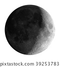 Waxing crescent moon seen with telescope, isolated 39253783