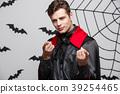 Vampire Halloween Concept - Portrait of handsome 39254465
