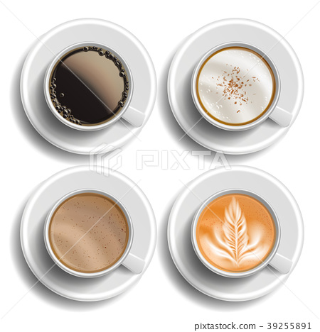 Coffee Cups Set Vector. Top View. Different Types 39255891