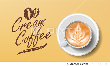 Cup Of Coffee Vector. Orange Background Top View 39255926