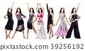 Set of young dancer woman in beautiful ballroom 39256192
