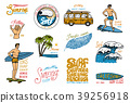 Surf badge and wave, palm tree and ocean. tropics 39256918