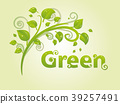 Elegant green branch with leaves and text for text 39257491