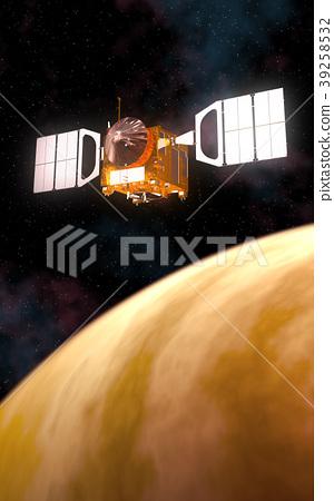 Interplanetary Space Station Orbiting Yellow 39258532