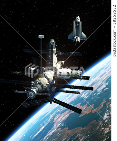 Space Station And Space Shuttle In Outer Space 39258552
