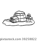 igloo with snowman vector illustration sketch  39258822