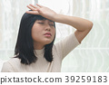 Woman with headache or cold in her room 39259183