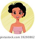 Beautiful cartoon character. Cheerful woman 39260862