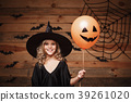 Halloween Witch concept - little caucasian witch 39261020