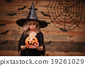 Halloween Witch concept - little caucasian witch 39261029